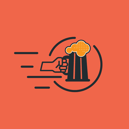 pint: Human hand holds a pint. Outlined illustration