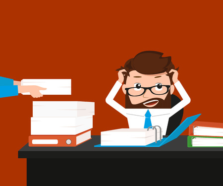 over worked: Busy businessman has a lot work. Conceptual illustration.