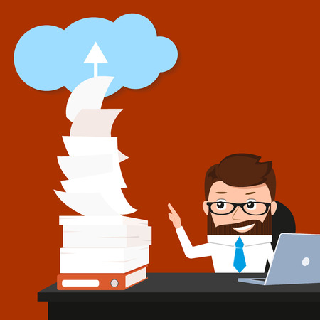 synchronizing: Lucky businessman is synchronizing his work with the cloud. Conceptual illustration.