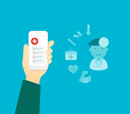 app banner: Human hand holds white smartphone with medical mobile app