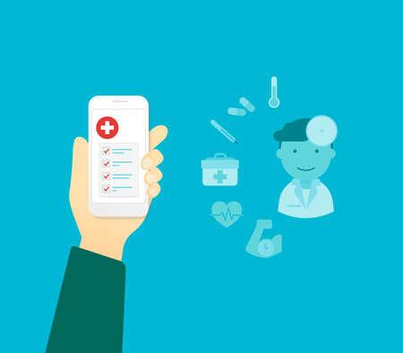 emergencia medica: La mano del hombre sostiene tel�fono inteligente blanco con aplicaci�n m�dica m�vil Vectores