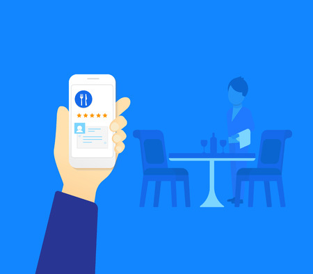restaurant rating: Human hand holds white smartphone with restaurant mobile app with rating Illustration