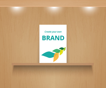 wooden shelf: Branding mock-up. Realistic vector wooden shelf with paper