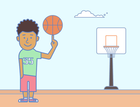 Young smiling basketball player with the ball Vector