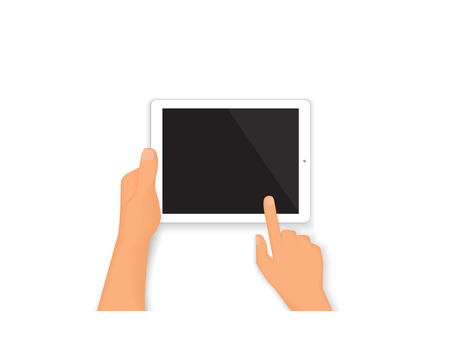 Realistic human hands hold a tablet pc isolated on white Stock Vector - 37687110