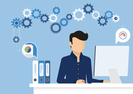 handsome man: Man is working with computer. Flat modern illustration of working process