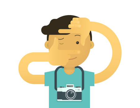 take action: Creative photographer doing viewfinder gesture. Flat illustration