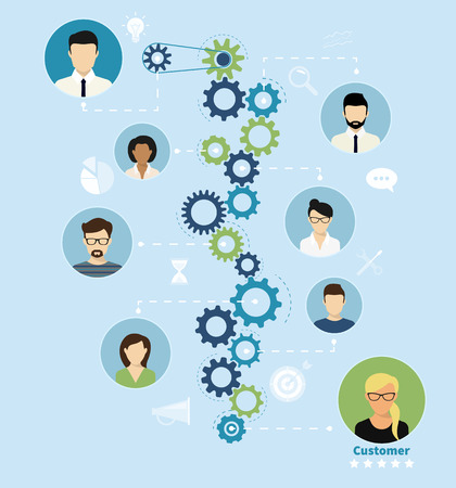 Illustration of project team working process from manager to customer