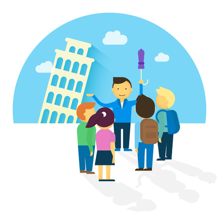 tour guide: Group of tourist in the europe. Flat modern illustration