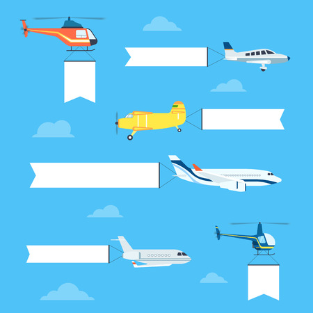 Flat airplanes and helicopters set with white ribbon for text banners