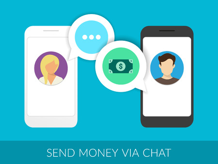 mobile phone: Transferring money to friends via chat messager. Illustration of two smartphones with speech bubbles Illustration