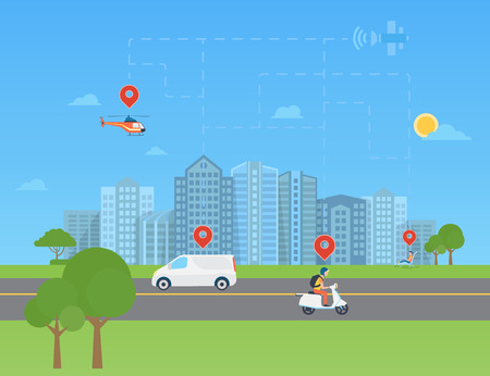 positioning: Global positioning system data monitoring. Urban landscape with transport