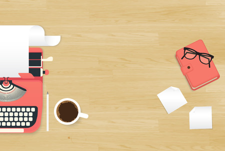author: Realistic workplace organization. Top view with textured table, typewriter, stickers, glasses, diary and coffee mug