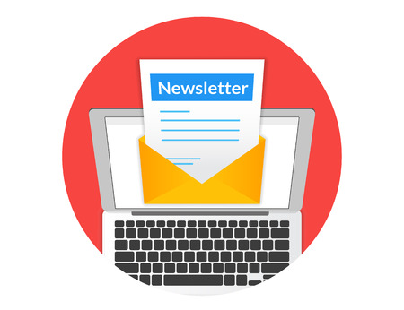 article marketing: Newsletter illustration with laptop isolated round red icon