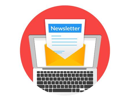 Nieuwsbrief illustratie met laptop geïsoleerd ronde rode pictogram