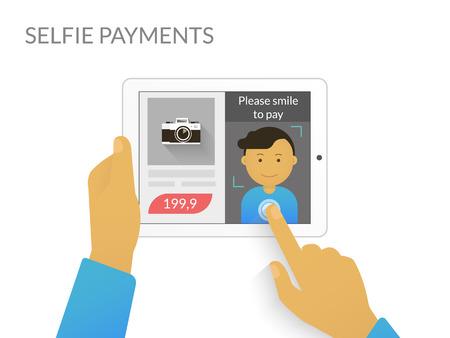reconocimiento: Hombre haciendo Autofoto comprar algo en línea