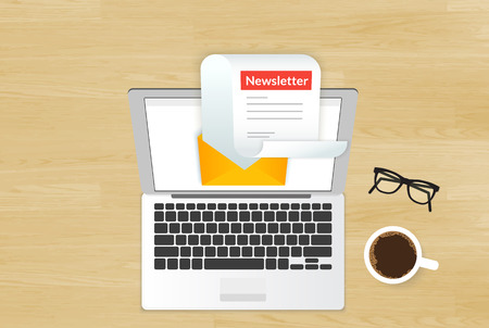 Newsletter illustration with laptop placed on realistic wooden background. Top view with cup of coffee and eyeglasses Stock Illustratie