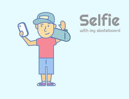 righteous: Young guy doing selfie with skateboard. Text outlined free font Righteous Illustration