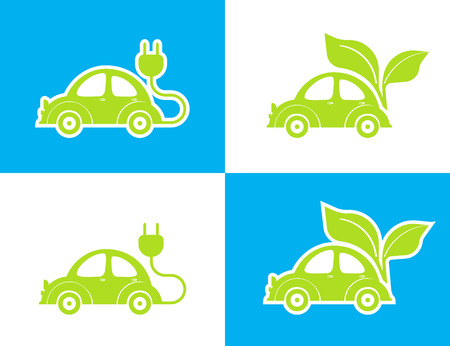 electro: illustration of conceptual electro car green icon on white and blue background Illustration