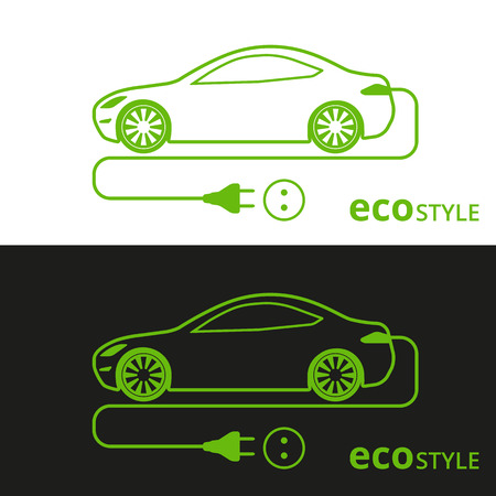 illustration of electro car green icon on white and black background Vettoriali