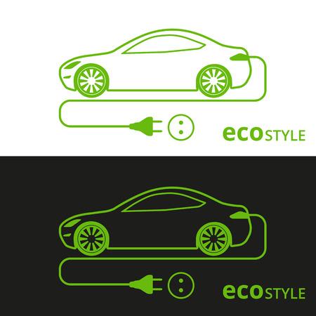 illustration of electro car green icon on white and black background Illustration