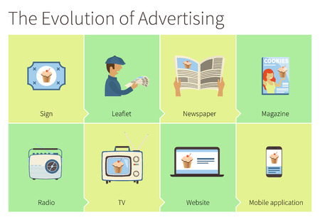 The evolution of  advertising. From advertising sing to mobile application Illustration