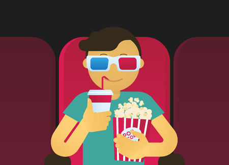 movie screen: Young guy is watching 3D film in the cinema. Illustration