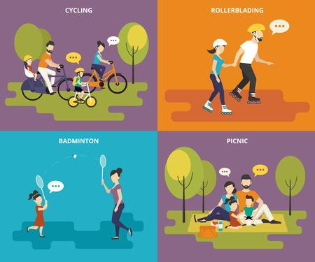 pareja casada: Familia con los iconos planos gente niños niños concepto conjunto de la bicicleta, patinar, jugar al bádminton y picnic