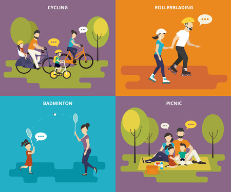 Famille avec enfants enfants personnage icônes plates ensemble de vélo, patin à roues alignées, jouer au badminton et de pique-nique