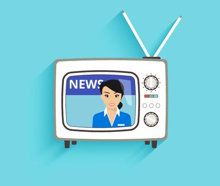 newsreader: Illustration of TV news with female speaker isolated on blue