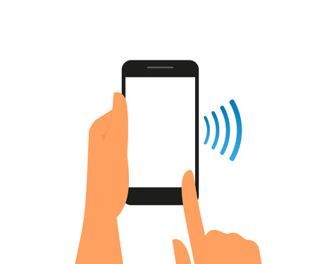 nfc: Illustration of smartphone with nfc function template Illustration