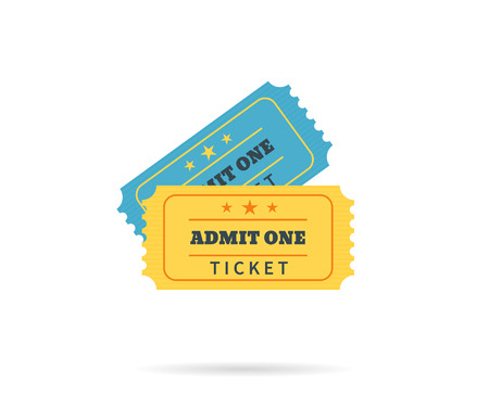 admit one: Two retro tickets. Temlate vector illustration for cinema and other events. Text outlined