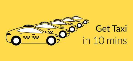 Taxi station of yellow hatchback cars. Text outlined. free font Lato