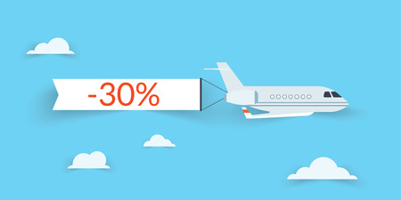 banner craft: Flat airplane with shadow and white banner for sale Illustration