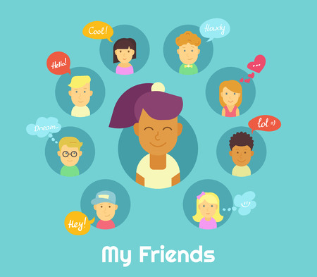black haired: Smiling black haired girl and her friends in social networks with speech bubbles Illustration