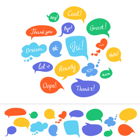 Speech bubbles in different colors with hand written text isolated on white