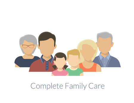 Complete family care illustration of parents with children Ilustração