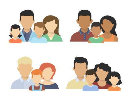hombre caricatura: Piso cuatro diferentes parejas con ni�os aislados en blanco