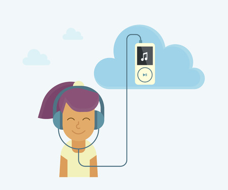 live stream listening: Young girl is listening to music from cloud server Illustration