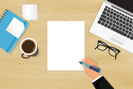 Realistic workplace organization. Top view with textured table, laptop, stickers, glasses, diary, human hand and coffee mug Illustration