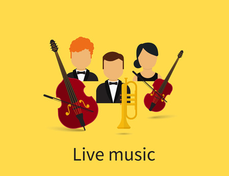 jazzy: Live music with orchestra trio with contrabass, violin and trumpet