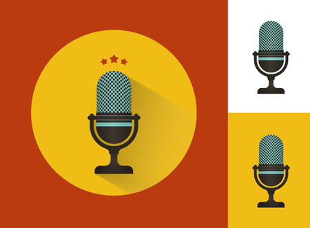 karaoke: Karaoke microphones set  with isolated on white icon