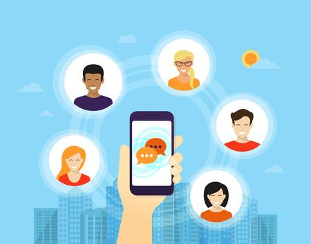 인간의 손에 소셜 네트워크와 친구를위한 응용 프로그램과 함께 그의 주위에 아이콘 스마트 폰을 보유하고 일러스트