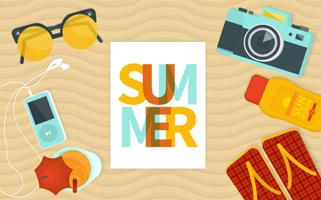 beach sea: Summer banner template.  Illustration