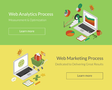 Isometric double illustration of analytics and marketing processes. Text outlined. Free font Lato Ilustração