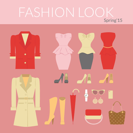 beautiful dress: Fashion female clothes set of dresses, jacket, shoes and accessories Illustration