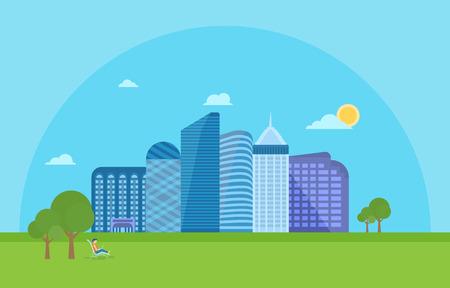 city live: Illustration of urban landscape scene with modern skyscrapers