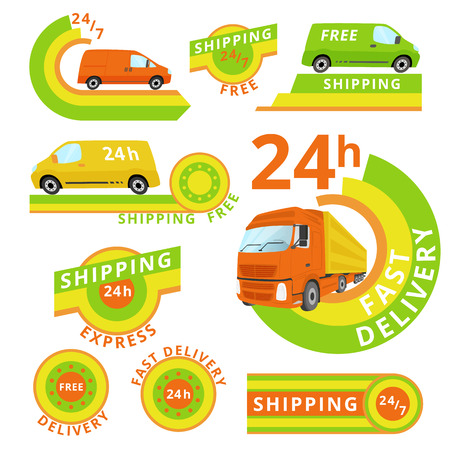 refrigerated: Vector logo set of delivery cars and labels. Illustration
