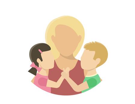 babysit: Mom with two kids. Flat illustration on white Illustration