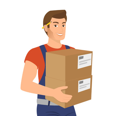 Delivery service man with two boxes in his hands Stock Illustratie